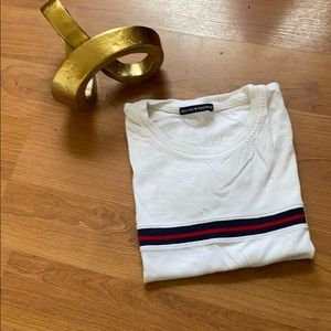 Brandy Melville Red/White/Blue Striped Tee (O/S)